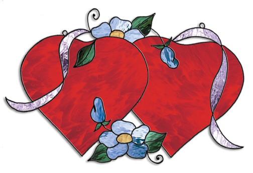 Doppel-Herz, Schnittmuster - Tiffanyshop-Glasladen